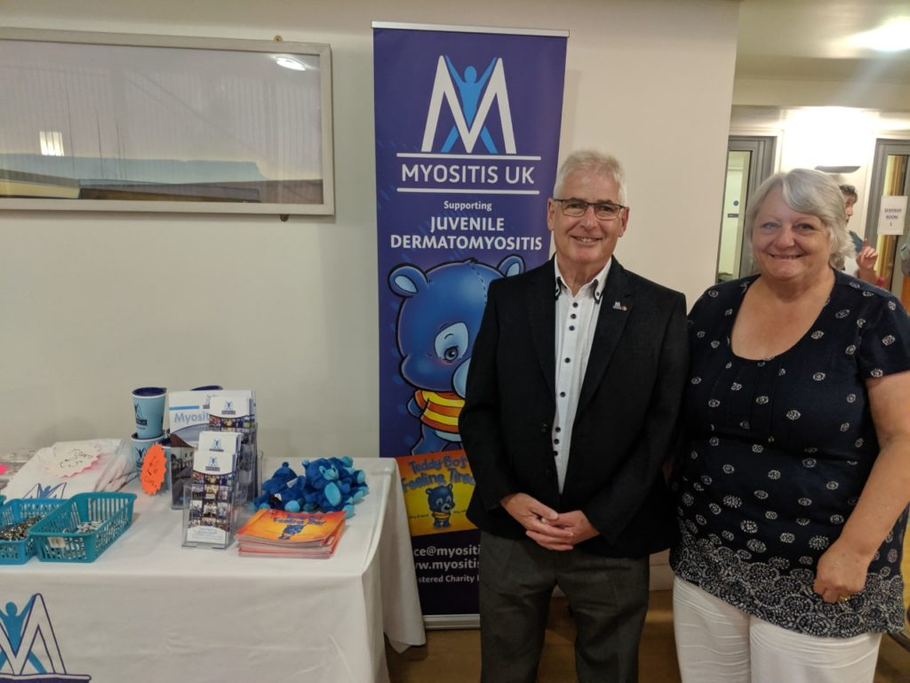 Irene and Les on the Myositis UK stall